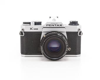ASAHI Pentax K1000 35mm Film Camera with 50mm Prime Lens - Great Working Student Camera with 1 roll of Film