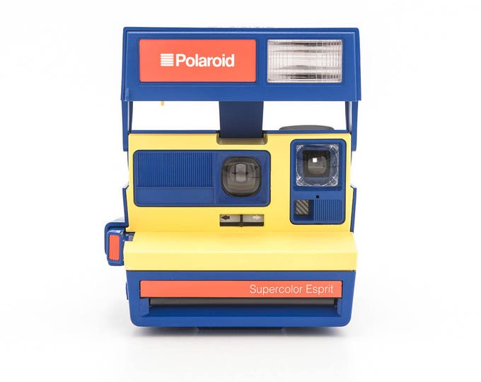 Featured listing image: Polaroid SUPERCOLOR Esprit - Film Tested and Working Polaroid 600 - RARE Blue and Yellow Polaroid