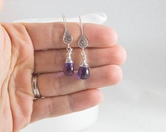 Purple Earrings, Purple Dangle Earrings, Amethyst Earrings, February Birthstone Earrings, Amethyst Dangle Earrings, Amethyst Earrings Silver