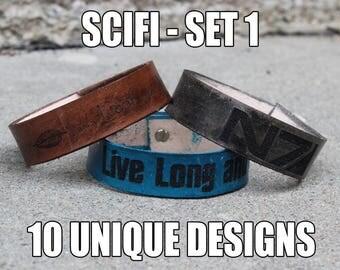 "3/4"" Adjustable Leather bracelet - Scifi - Star Trek, Star Wars, Firefly, Xmen - 6.75""-8.75"" - Color Choice"
