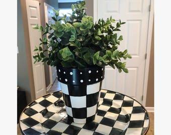 Black and White Check Planter