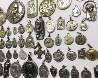 Vintage French Religious Medals Lot of 50 Holy Medals Saints Medals