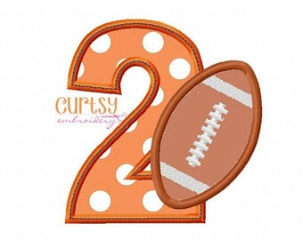 ON SALE TODAY Football Embroidery Design, Second Birthday Embroidery Design, Football Birthday Applique Design, Football Applique Design, 2n