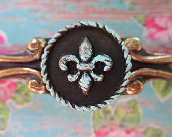 Golden Bronze Shabby Vintage Chic Aqua Patina Fleur De Lis Paris Cabinet Drawer Handle Pulls Bronze Parisian Coastal Beach Cottage