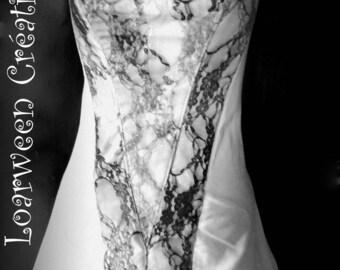 Wedding dress white Halter with custom gray/white/black lace.
