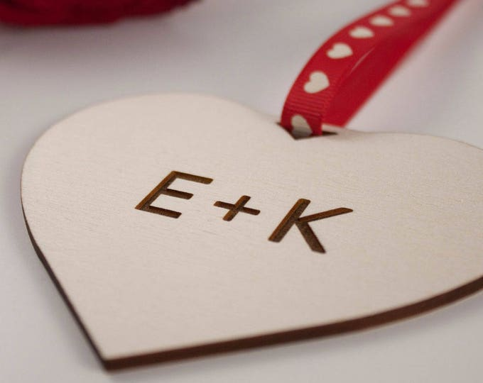 Featured listing image: INITIALS Love Heart Gift // Laser Cut and Engraved Plywood // Valentines Day