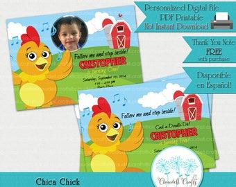 Chica Chick Inspired Printable Birthday Invitation / Card