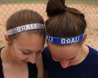 Blue Soccer Headband – No Slip Headband Girls Soccer Gifts – Orange Headband Soccer Hair Accessory – Athletic Headband Soccer Player Gift