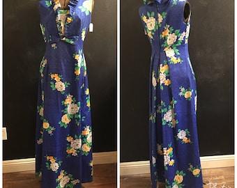 Hawaiian Maxi Dress--Vintage Aloha Dress--70s Maxi Dress.