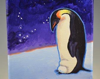 Mini penguin totem painting-nature spirits-power animal-spirit animal-emperor penguin