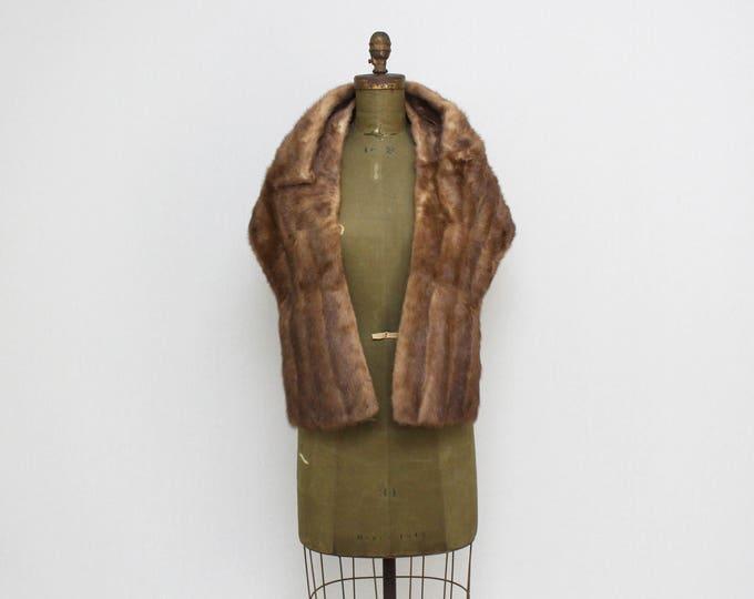Vintage 1960s Short Brown Mink Wrap