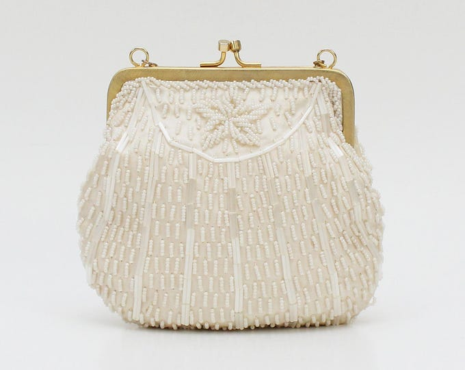 Vintage 1960s Ivory Beaded Evening Bag