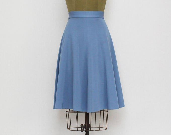 Vintage 1960s Cornflower Blue High-Waisted Full Skirt - Size Small