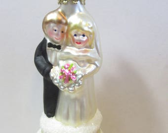 Blown Glass Ornament Wedding Midwest of Cannon Falls European Blown Glass Couple