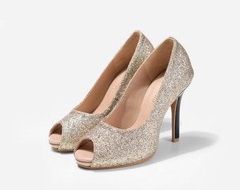 Star Girl Gold Glitter Peep Toe Pumps, Custom Made Glitter Wedding Shoe, Gold Glitter Bridal Heels, Gold Wedding Heels