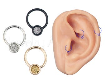 """18G Cartilage Helix Earring, Tragus Hoops Ring, Rook Earring, Sandpaper Accented 5/16"""" (8mm) Nose Hoop Ring, Body Jewelry, Titanium Anodized"""