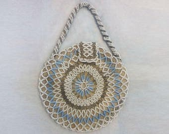 1930's Ivory and Blue Circular Beaded Bag