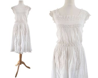 Edwardian White Cotton and Lace Camisole Dress