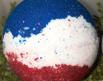 Independence Day Large 2 1/2 inch red white and blue colored bath bomb, watermelon scent, big bubbly bath bomb, big bath fizzy