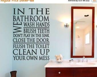 CLEARANCE SALE Bathroom Decor - Bathroom Rules - Bathroom Wall Decal - Wall Decal - Bathroom Wall Decal - Bathroom Wall Decor