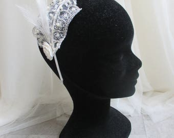 Bridal lace with pearls headband, feather and flowers