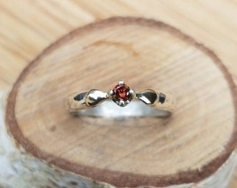 Sterling silver and 14k gold diamond ring red diamond ring engagement ring wedding ring conflict free diamond unique one of a kind red
