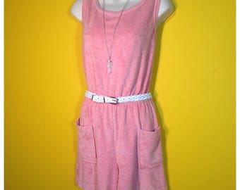 Vintage '70s terry cloth Romper, Size Medium