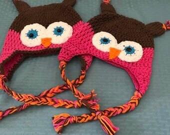 Owl earflap hat