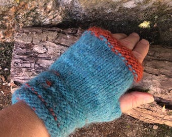 Womens Fingerless Gloves. Alpaca/Wool mix. TealBlue/Copper Orange. Hand Dyed. Hand Spun. Hand Knit.