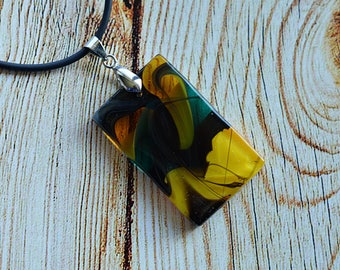 FREE SHIPPING, Glass pendant Fused glass jewelry,  Handmade jewelry