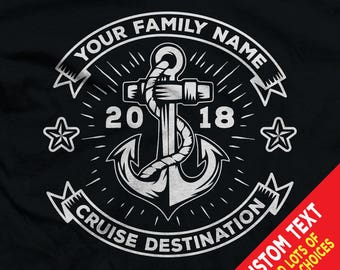 Custom Cruise Nautical Shirts with Custom Family Name, Colors, and Cruise Destination