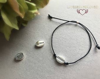 Sterling Silver Dream Bracelet / Faith / Believe / Friendship Bracelet / Wish Bracelet / Black Leather Adjustable Bracelet /
