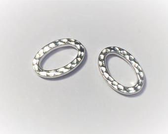2 Silver TierraCast Hammertone Oval Links,Bead, Jewelry supplies, finding