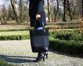 Felt vertical tote bag Casual bag Handbag shoulder bag with ecoleather handle