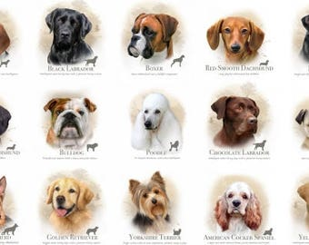Dog Breed & Cat Breed Cotton Fabric Panels by Elizabeth's Studio! [Sold by the Panel]