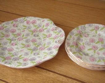 English Bone China Plate Tea Set 1960's