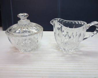 Cut Crystal Cream and Sugar With Lid