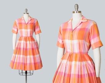 Vintage 1950s Dress   50s Plaid Checkered Cotton Orange Pink Full Skirt Shirtwaist Day Dress (small)