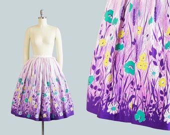 Vintage 1950s Skirt | 50s Floral Wheat Border Print Cotton Printed Purple White Full Swing Skirt (xs)