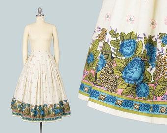 Vintage 1950s Skirt | 50s Rose Floral Border Print Cotton Cream Blue Pleated Full Swing Skirt (xs)