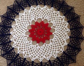 Patriotic doily, Red, White and Blue Handmade Crochet