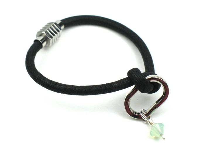 Knotted Mokuba Cord Friendship Bracelet in Black and Silver with Soft Blue Sworovski Crystal Charm and Ribbed Magnetic Clasp