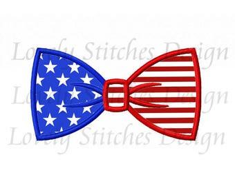 Flag Bow Tie Applique Machine Embroidery Design NO:0620