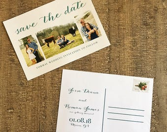 Save the date postcard with green