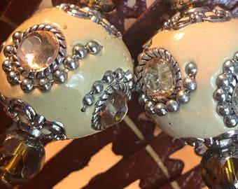 Beige metal Crystal earrings - Earrings - Wedding Earrings