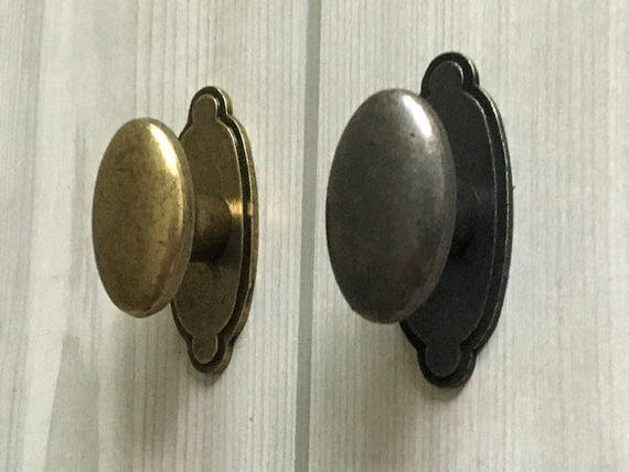 Dresser Knob Drawer Knobs Pulls Handles Back Plate Cabinet Door Pull Vintage Style Rustic Oval Dark Antique Bronze Lynns Hardware From