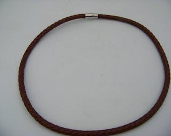 Dark Brown Braided Leather Necklace 5024