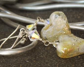 Soft Yellow Lampwork Heart Earrings  // Romantic Earrings // Luxe Glass Artisan Earrings