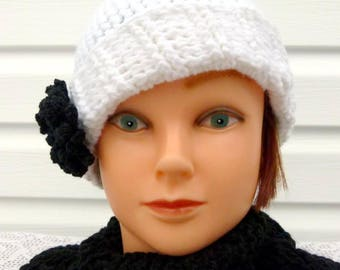 Chic White Beanie with Black Dahlia Flower,  Size Teen/Adult 21 - 23""