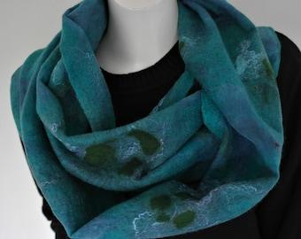 Nuno felted scarf aqua. Silk, wool, felted shawl, green blue, handmade for women.